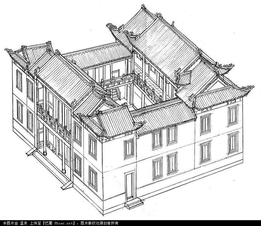 工笔线描中国古建筑