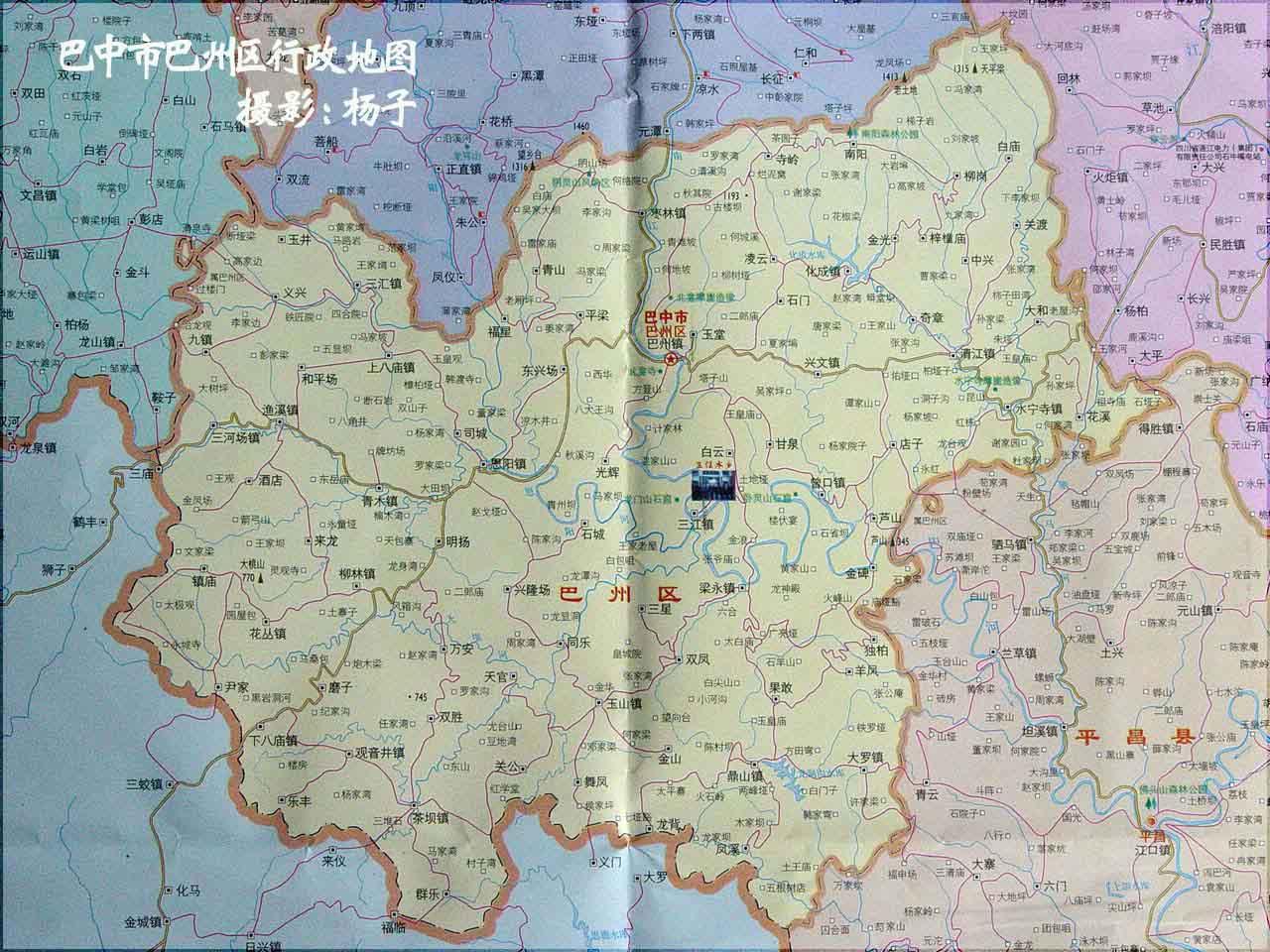 巴中市行政区,城市地图