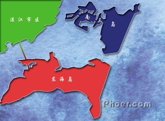 现在的东海岛靠一条1958年建的跨海大堤与湛江市区相连 高清图片