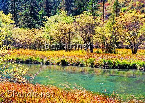 四川平武白马藏族水彩风景图片